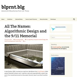 All The Names: Algorithmic Design and the 9/11 Memorial