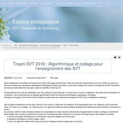 Traam 2019 - Traam SVT 2019 : Algorithmique et codage pour l'enseignement des SVT