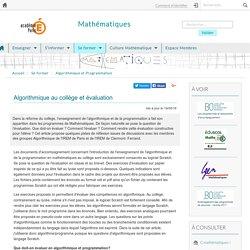 Algorithmique au collège et évaluation
