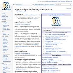 Algorithmique impérative/Avant-propos