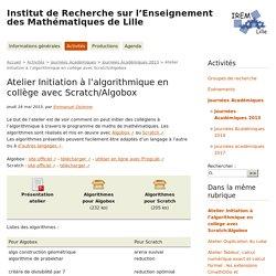 Atelier Initiation à l'algorithmique en collège avec Scratch/Algobox