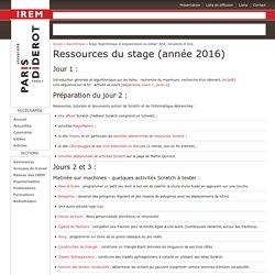 """Stage """"Algorithmique et programmation au collège"""" 2016 : documents et liens"""