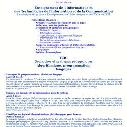 Enseignement de l'informatique et des TIC - Algorithmique, programmation, langages...