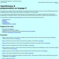 Algorithmique & programmation en langage C