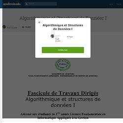 Algorithmique et Structures de Données I