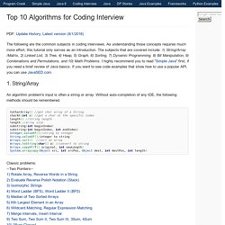 Top 10 Algorithms for Coding Interview