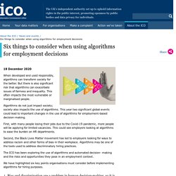 Olivier - Six things to consider when using algorithms for employment decisions