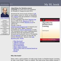 Algorithms of Reinforcement Learning: A new book by Csaba Szepesvari