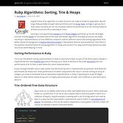 Ruby Algorithms: Sorting, Trie & Heaps - igvita.com