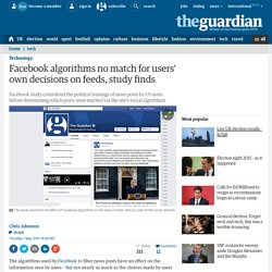 Facebook algorithms no match for users' own decisions on feeds, study finds