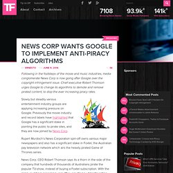 News Corp Wants Google to Implement Anti-Piracy Algorithms