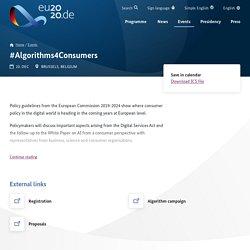 #Algorithms4Consumers - EU2020 - EN
