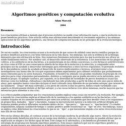 Algoritmos genéticos y computación evolutiva