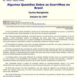 Algumas Questões Sobre as Guerrilhas no Brasil