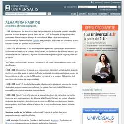 ALHAMBRA NASRIDE - repères chronologiques