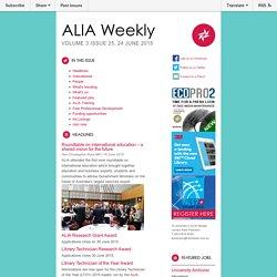 ALIA Weekly Volume 3 Issue 25