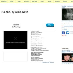 No one, by Alicia Keys, interactive video clip English, French