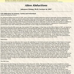 Alien Abductions and Hypnosis