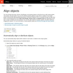 Align objects - Publisher