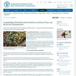 FAO11/09/13Le gaspillage alimentaire porte atteinte au climat, à l'eau, aux terres et à la biodiversité
