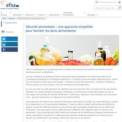 EFSA 07/11/18 Sécurité alimentaire : une approche simplifiée pour faciliter les dons alimentaires