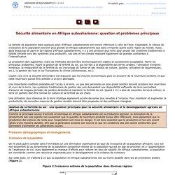 Sécurité alimentaire en Afrique subsaharienne: question et problèmes principaux