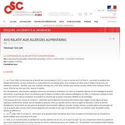 BOCCRF 23/05/01 Avis de la Commission de la sécurité des consommateurs relatif aux allergies alimentaires