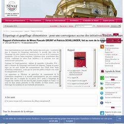 SENAT 13/01/17 Rapport d'information : Étiquetage et gaspillage alimentaires : pour une convergence accrue des initiatives françaises et européennes