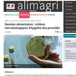 Denrées alimentaires : critères microbiologiques d'hygiène des procédés