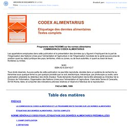 CODEX ALIMENTARIUS - Etiquetage des denrées alimentaires