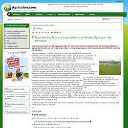 Alimentation animale - Nouvelle étude sur une possible toxicité des Ogm pour les animaux
