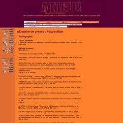 Exposition Alimentation - Dossier de presse : l'exposition - Bibliographie