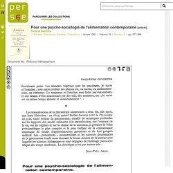 Pour une psycho-sociologie de l'alimentation contemporaine - persee.fr