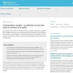 SAVOIRLAITIER_CA - L'alimentation durable : sa définition et son rôle dans la nutrition et la santé
