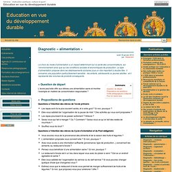Diagnostic «alimentation» - Education en vue du développement durable