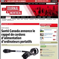 Santé Canada annonce le rappel de cordons d'alimentation d'ordinateurs portatifs