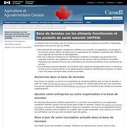 AGRICULTURE CANADA - Base de données sur les aliments fonctionnels et les produits de santé naturels (AFPSN)
