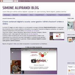 Creare contenuti digitali a scuola: come gestire i diritti d'autore? (video e slides)