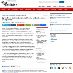 Egypt: Trade Ministry Considers Website for Businessmen Eyeing Africa