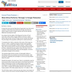 West Africa Performs 'Strongly' in Hunger Reduction