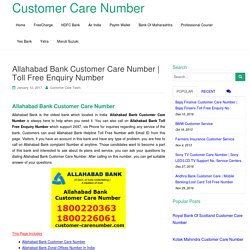 Allahabad Bank Customer Care