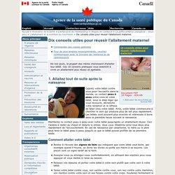Dix conseils utiles pour réussir l'allaitement maternel - L'enfance et de l'adolescence
