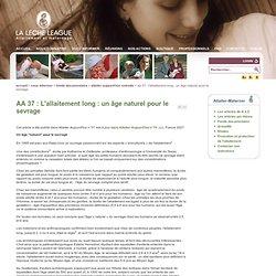 AA 37 : L'allaitement long : un âge naturel pour le sevrage