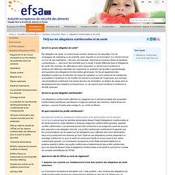 EFSA 04/03/13 FAQ sur les allégations nutritionnelles et de santé
