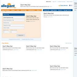 Discount Flights and Vacation Packages | Travel Is Our Deal? | Airfare & Hotel Packages from Allegiant