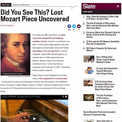 Allegro Molto in C Major: Hear a lost Mozart piece performed on the composer's piano (VIDEO)