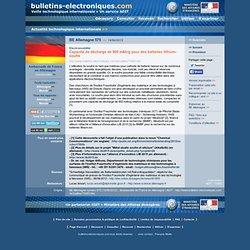06/14> BE Allemagne575> Capacité de décharge de 900 mAh/g pour des batteries lithium-soufre