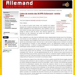 Lettre de rentrée des IA-IPR d'allemand - rentrée 2014