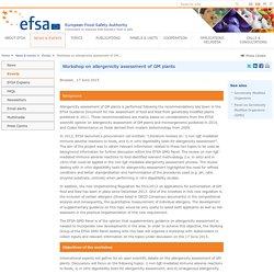 EFSA Event: Workshop on allergenicity assessment of GM plants