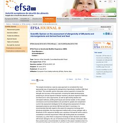 EFSA 29/07/10 Assessment of allergenicity of GM plants and microorganisms and derived food and feed